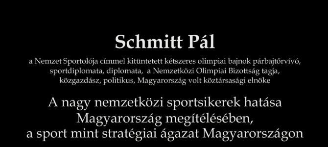 Klebelsberg, a sportminiszter c. sporttörténeti konferencia – előadás – Schmitt Pál