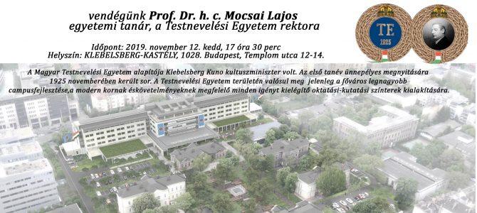 Előadás a Klebelsberg-kastélyban A Testnevelési Egyetem, mint innovatív sportegyetem